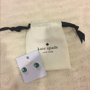 NWT Kate Spade Light Green Shiny Stud Earrings